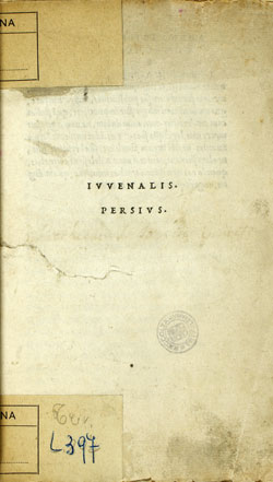 Cover of Iuvenalis. Persius
